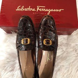 Salvatore Ferragamo 8 1/2 A4 Brwn Moc Croc Loafers